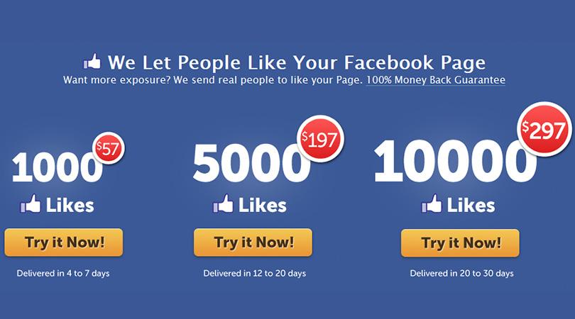 prix pour des faux likes sur facebook